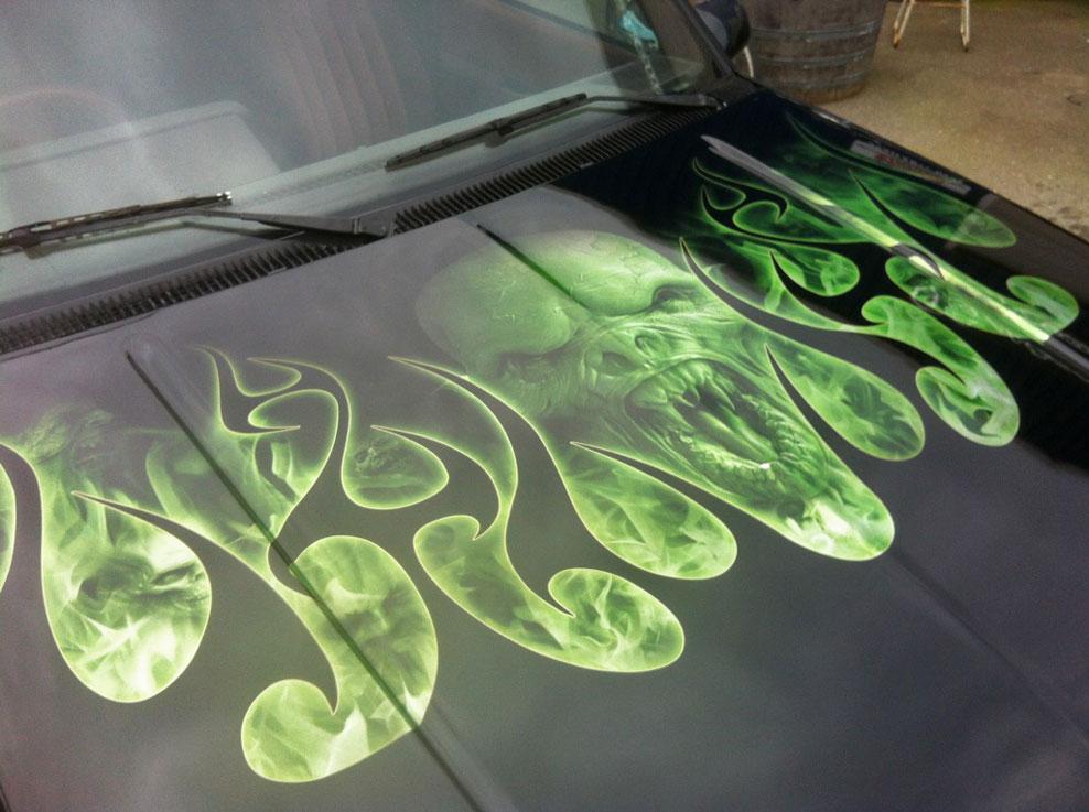Custom Digital Paint Custom Mural Graphic Bike Vehicle Designs Chevy Bonnet on Airbrush Cars Gallery